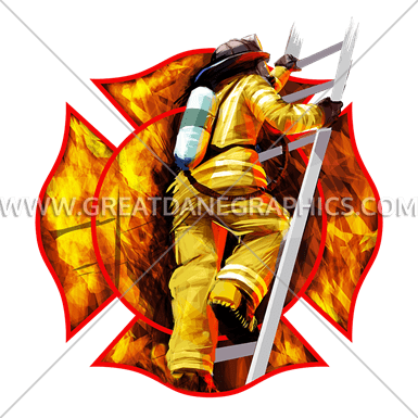 Fire Fighter Emblem Production Ready Artwork For T Shirt