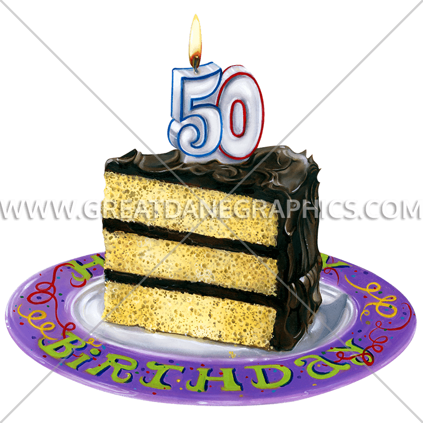 Birthday Cake 50th Production Ready Artwork For T Shirt Printing