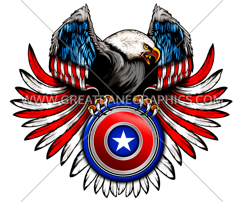 Flag Eagle Wings Production Ready Artwork For T Shirt Printing