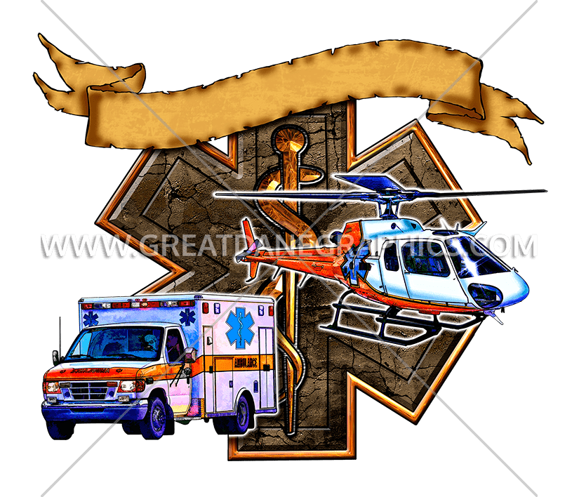EMS Star Of LIfe | Production Ready Artwork for T-Shirt Printing