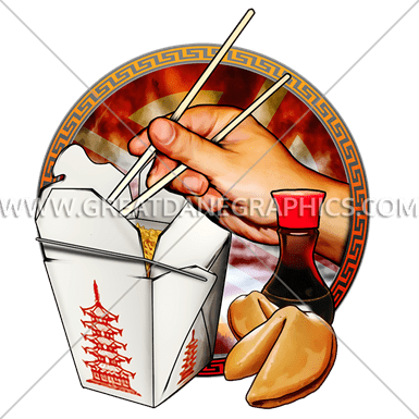 takeout scene production ready artwork for t shirt printing