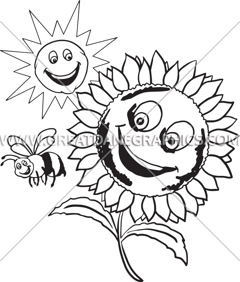 sunflower smile production ready artwork for t shirt printing