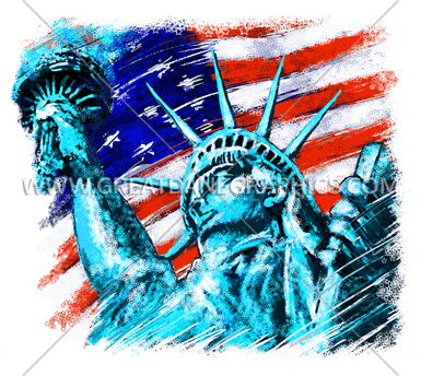 Statue Of Liberty Production Ready Artwork For T Shirt