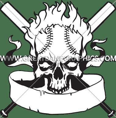 Baseball Skull Crest Production Ready Artwork For T