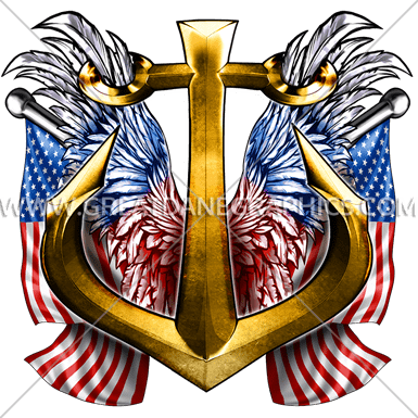 Navy Anchor Crest   Production Ready Artwork for T-Shirt ...