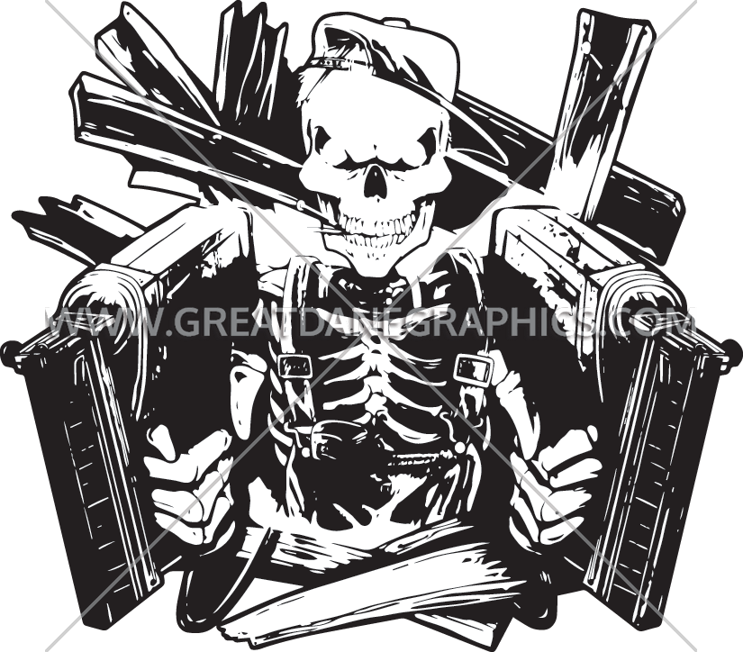 Nailgun skeleton production ready artwork for t shirt printing prinsesfo Image collections