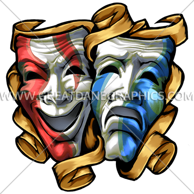 Drama Masks Colored | Production Ready Artwork for T-Shirt ...