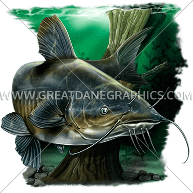 Catfish Swim Production Ready Artwork For T Shirt Printing