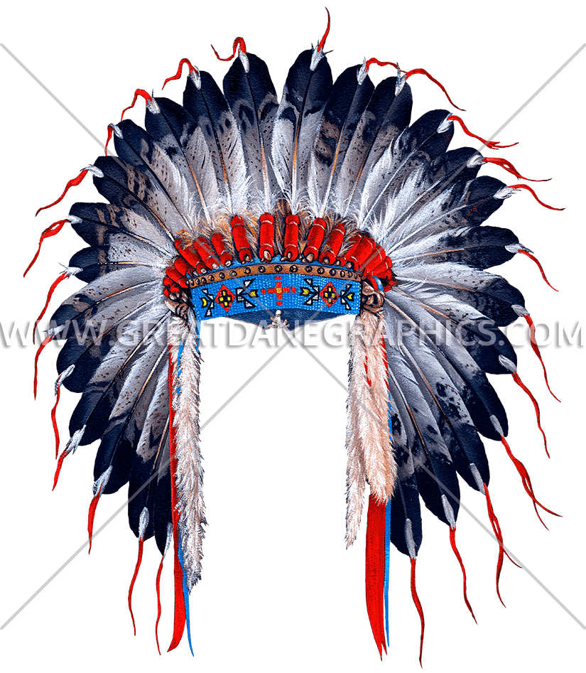 Indian Head Dress | Production Ready Artwork for T-Shirt Printing