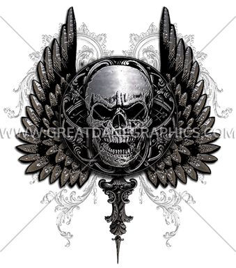 Gothic Skull With Wings