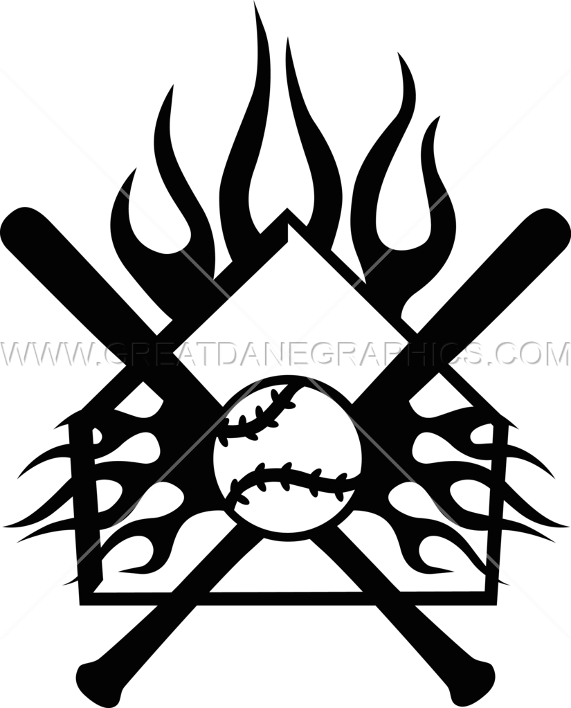 flaming home plate crest production ready artwork for t shirt