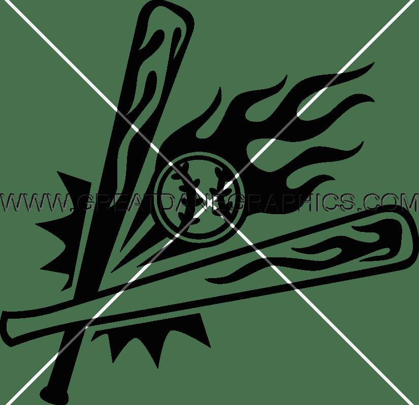 flaming baseball bats ball production ready artwork for t shirt rh greatdanegraphics com Baseball Field Clip Art Baseball Player Clip Art