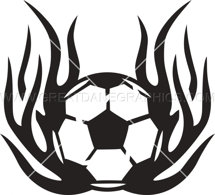 tribal flamed soccer ball production ready artwork for t shirt