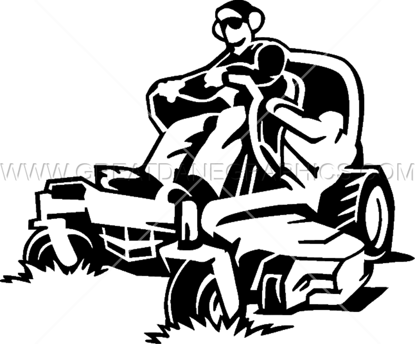Man Lawn Mowing Production Ready Artwork For T Shirt