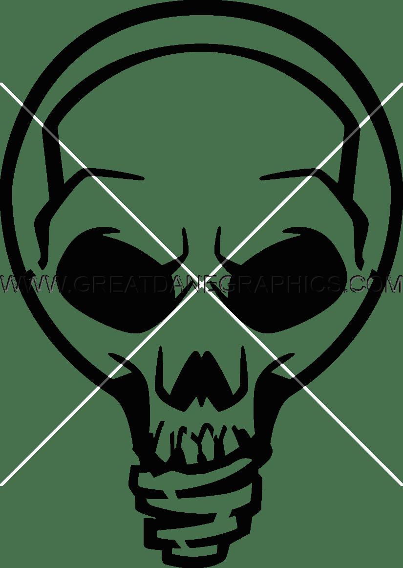 Skull Light Bulb Production Ready Artwork For T Shirt Printing Rh Greatdanegraphics Com Clip Art Black And White Christmas