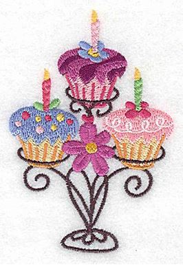 Three Cup Cakes On Stand Small Production Ready Artwork For T