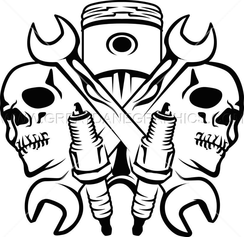 Mechanic Skulls Production Ready Artwork For T Shirt
