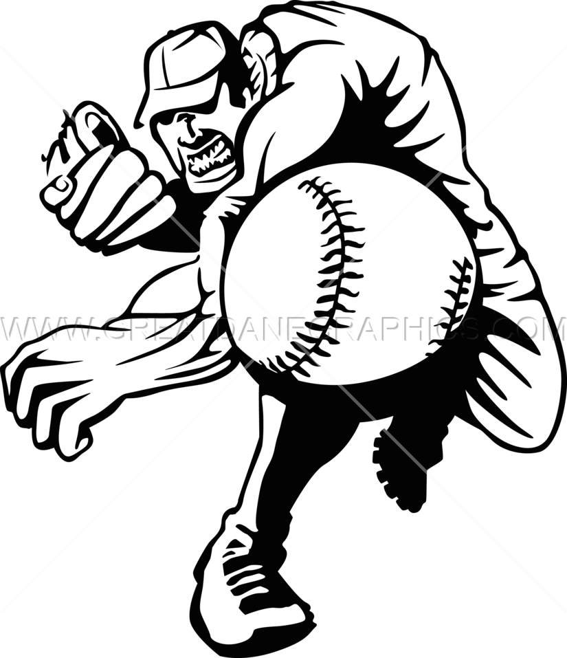 Baseball Muscle Pitcher | Production Ready Artwork for T ...