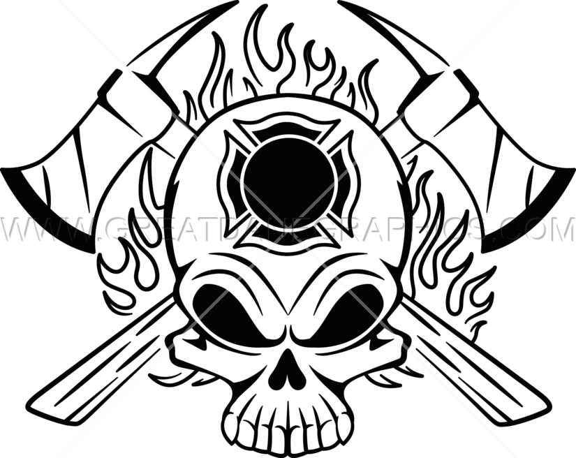 Fire Fighter Skull Production Ready Artwork For T Shirt