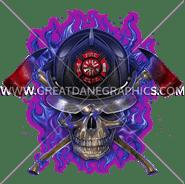 D-4072 Purple Fire Skull Digital Printing