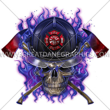 purple fire skull production ready artwork for tshirt