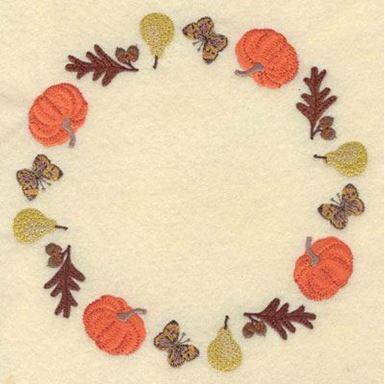 Sunflower Oak Leaf Pumpkin Butterfly And Pear Circular
