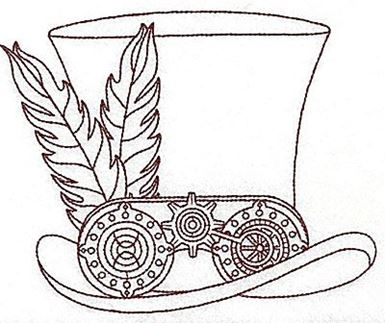 top hat coloring page - steampunk top hat with feathers single color production