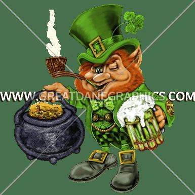 leprechaun pot of gold production ready artwork for t shirt printing