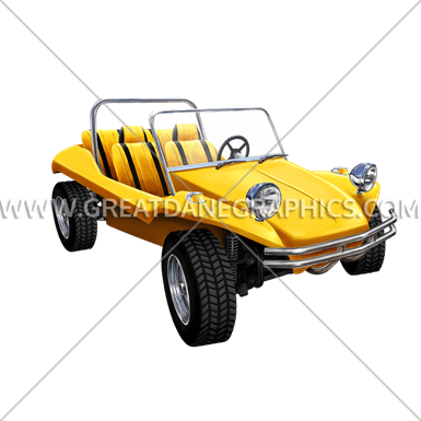 Yellow dune buggy production ready artwork for t shirt printing