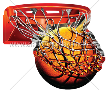 flaming basketball with net production ready artwork for t shirt