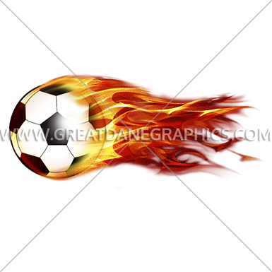 flying fiery soccer ball production ready artwork for t shirt printing