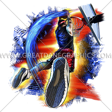 Basketball Dunk Fire Production Ready Artwork For T