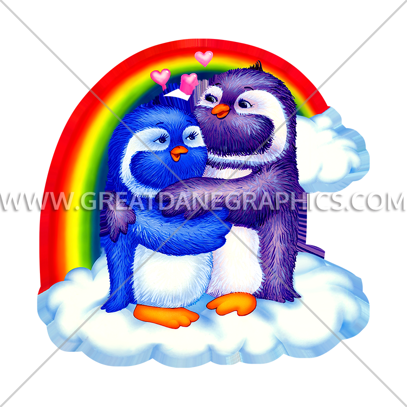 Rainbow Penguin Love Birds | Production Ready Artwork for T-Shirt